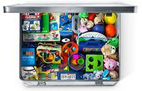 Leg og lær kassen er fuld af legetøj til børn der har mistet alt