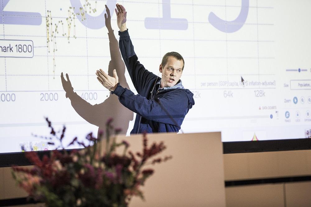 Præsident og medstifter af Gapminder Foundation, Ola Rosling, holdt et spændende oplæg i plenum. Foto: Lise Balsby