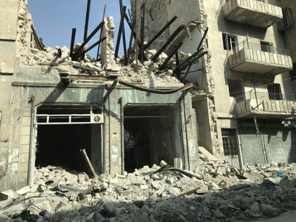 Ødelagte huse i det østlige Aleppo