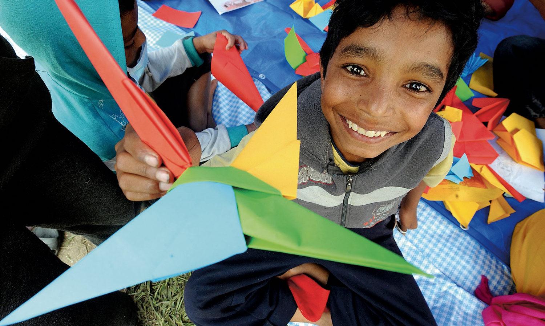 UNICEF støttet børnevenligt område i Nepal Kathmandu efter jordskælv