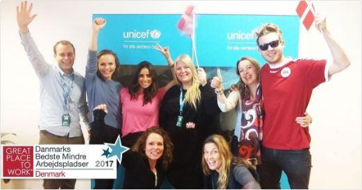 UNICEF Danmark blandt landets bedste mindre arbejdspladser. Great place to work 2017