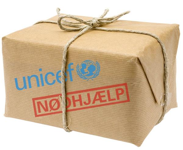 støt børn ved at købe verdensgaven nødhjælpspakke i unicef shoppen