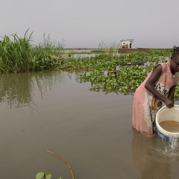En pige henter urent vand i byen Wau Shilluk
