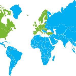 Verdenskort UNICEFs indsatsområder