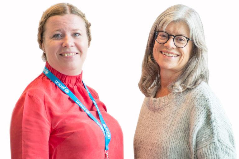 Vi skal tale med børn, ikke kun om dem siger Line Grove Hermansen, kommunikationsdirektør i UNICEF Danmark og Anne-Mette Friis, børne- og ungechef hos UNICEF Danmark