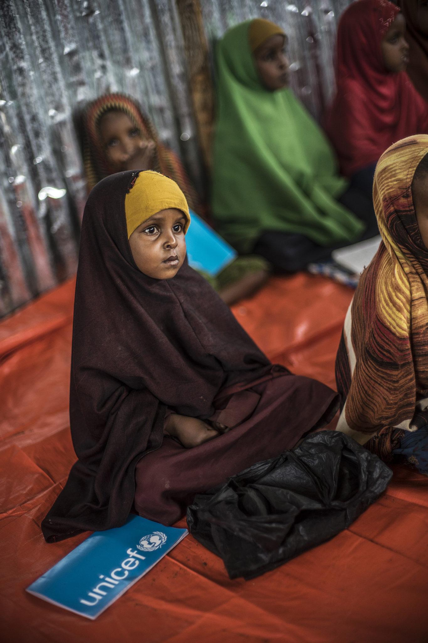 Nyligt ankomne flygtninge i flygtningelejren Baido, Somalia