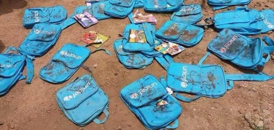 Angreb på en skolebus i Yemen den niende august 2018. Skolebørn skal ikke bombes.