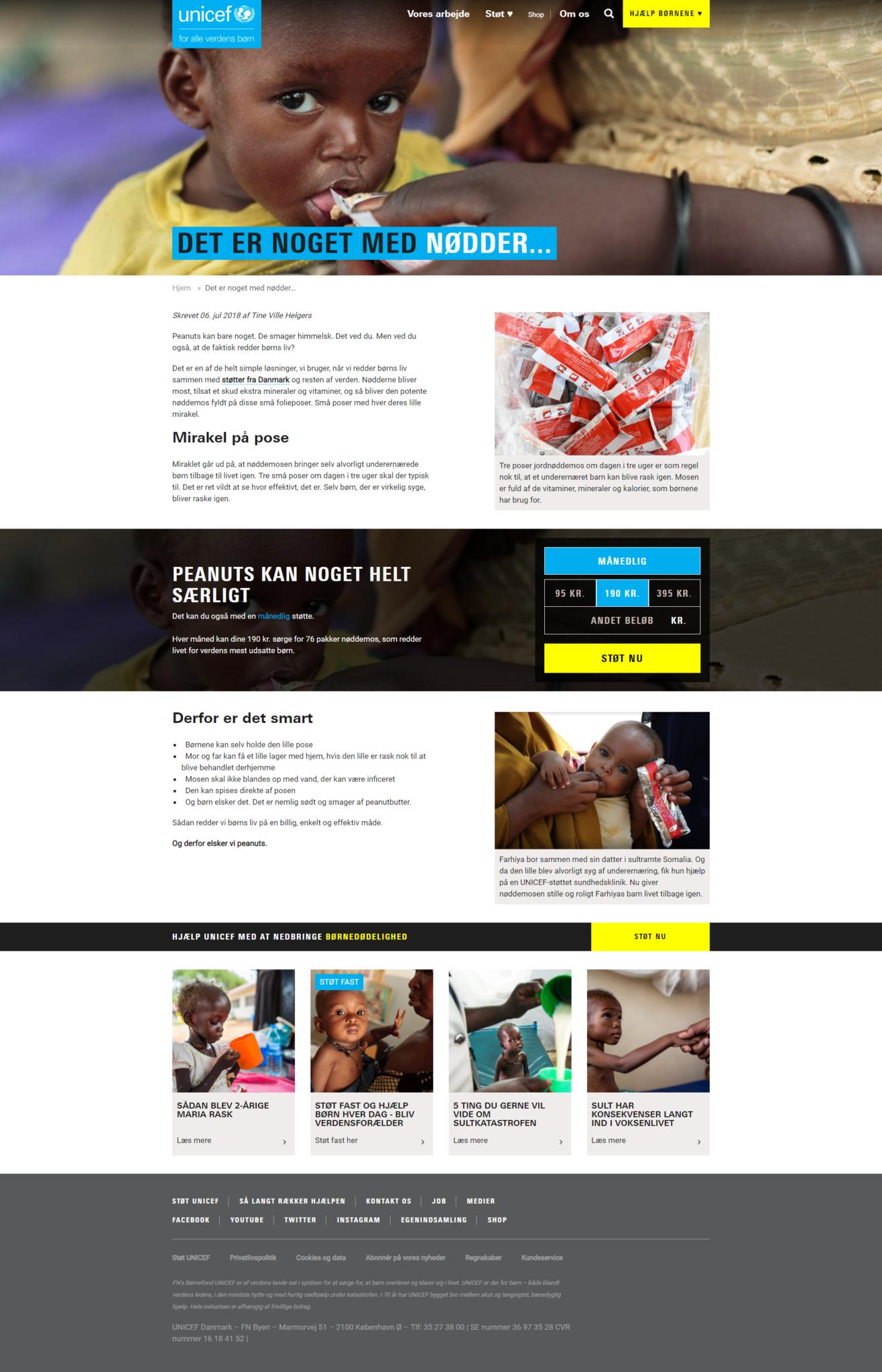 UNICEF Danmark i 2018 fået ny hjemmeside.