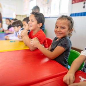 6-årige Aseel er lige startet i børnehave i Za'atari flygtningelejren i Jordan