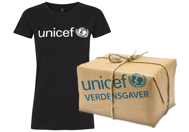 Køb verdensgaver og merchandise som en sort t-shirt i unicef webshoppen