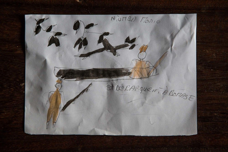 Tegning lavet af en pige på centret.