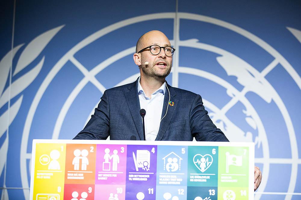 Minister for udviklingssamarbejde Rasmus Prehn talte til Børnenes Dag 2019.