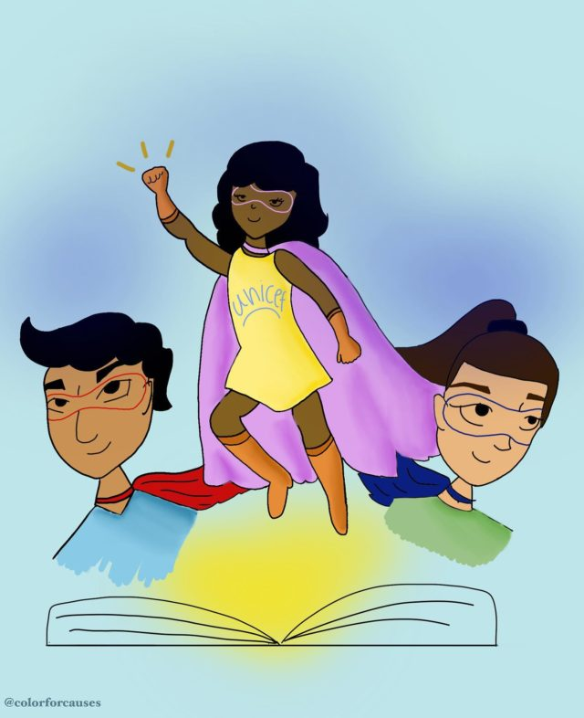 I am so excited to share my art for voicesofyouth and unicef illustration challenge! World Children's Day is approaching on November 20, and I want to reimagine a world without discrimination and gender inequality. I want to show kids that no matter what the color of your skin is or your gender you can make a change in this world. We are all superheroes! You should never feel invisible and always make your voice heard! You belong in this world just as much as everyone else💙 . . . #voicesofyouth #unicef #worldchildrenday2020 #weareallsuperheroes #wecanmakeachange #genderequality #art #lettering #calligraphy #colorforcauses #procreate #artist