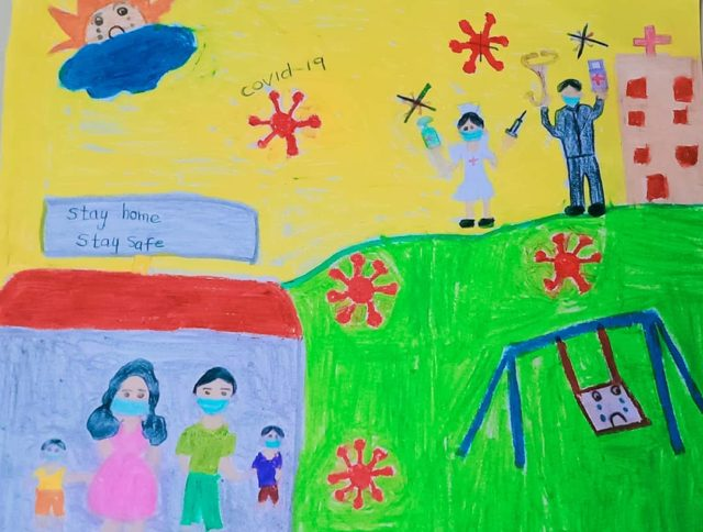 """Hafeez Hilmy, srilanka. I made this drawing to represent the world of tomorrow! I hope a better life for everyone,and this picture illustrates the importance of respecting real life heroes of the world we should celebrate and honor frontline workers, who, despite the risks, continue to provide life-saving support and protection to people most in need (specially children). that's why it is essential to appreciate, respect and recognize their work, because they are on the front line of the health emergency,"""" #voicesofyouth #unicef"""